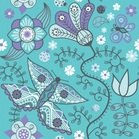 Seamless pattern with butterflies and flowers. Vector