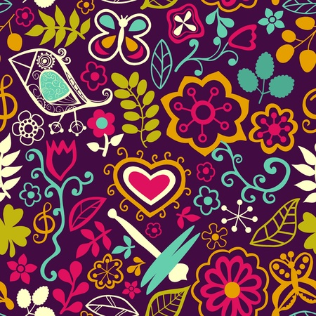 flower blooming: Seamless texture with flowers, birds and butterflies. Can be used for wallpaper, pattern fills, web page background, surface textures. Vector blooming doodle texture. Decoration with detailed flower.