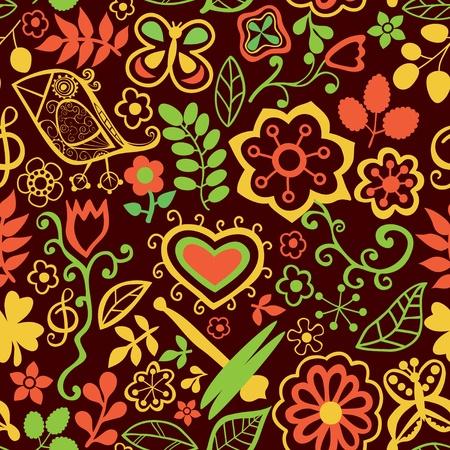 Texture Transparente Avec Des Fleurs Des Oiseaux Et Des Papillons