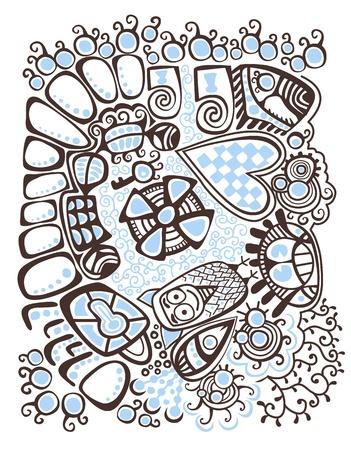 stylishness: Psychedelic stylized design Winter abstract background Illustration