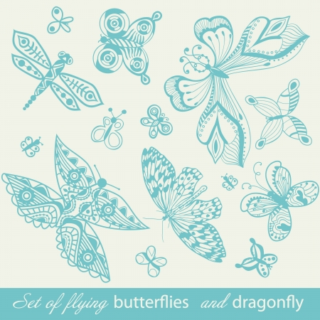 Butterfly Background, vintage insect set, collection of butterflies and dragonfly, set of butterflies silhouettes isolated on white background Vector