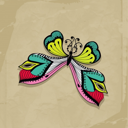 colorful abstract illustration of butterfly, Retro butterfly design