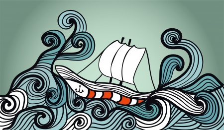 ship storm: sailing ship in the storm ocean