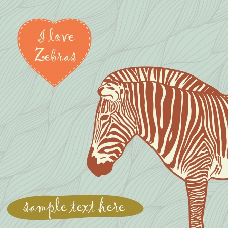 zebra head: zebra with place for text Illustration