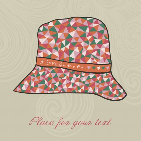 in vain: fashion hat made of triangles fabric, I love summer hat. Illustration