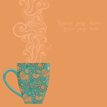 utensil: coffee and tea mug with floral pattern. Cup background. Hot drink in the beautiful mug.