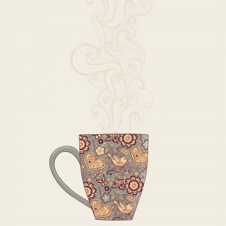 steam of a leaf: coffee and tea mug with floral pattern. Cup background. Hot drink in the beautiful mug.