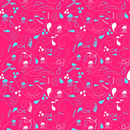 sea world seamless pattern, under water world wallpaper with fish,octopus and vegetation Vector