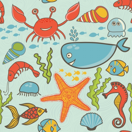 oceanside: marine seamless pattern, endless texture of sea world