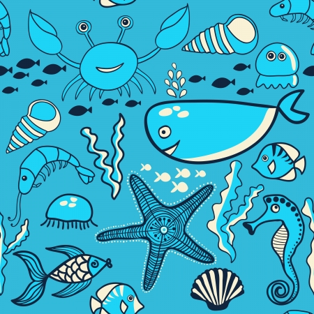 marine seamless pattern, endless texture of sea world Vector
