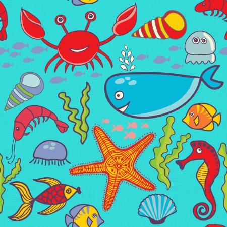 oceanside: marine seamless pattern, endless texture of sea world