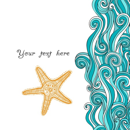 Background waves and starfish, maritime pattern. Ocean texture. Illustration