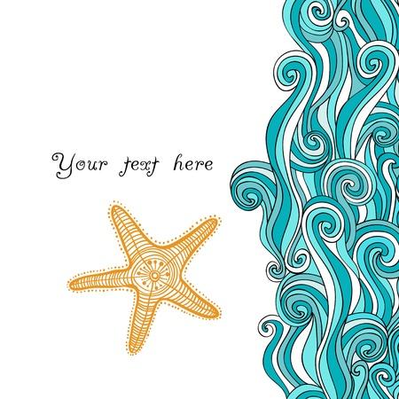 Olas de fondo y estrellas de mar, patrón marítimo. Textura océano. Ilustración de vector
