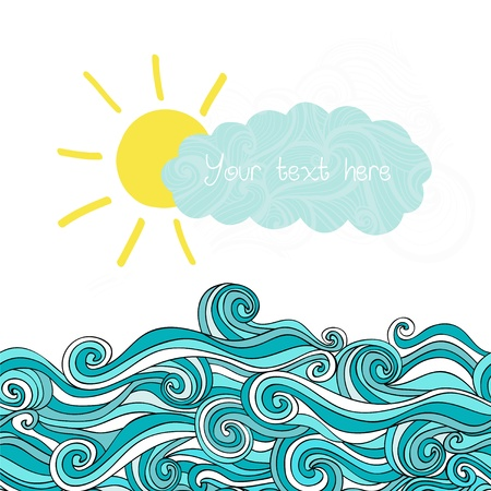 Sea illustration with sun and cloud, maritime background with place for your text, sea waves Ilustração