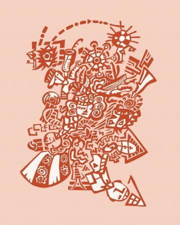 stylized design: Psychedelic stilizzato disegno Inverno sfondo astratto