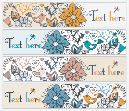 Retro style banner with bird and frame for your text in autumnal style.Vintage illustration of bird, can be used as website header, web page decoration. Vector
