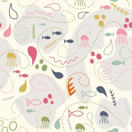 sea creature: sea world seamless pattern, under water world wallpaper with fish,octopus and vegetation Illustration