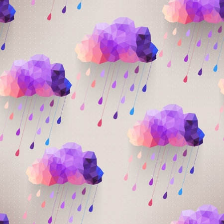 triangle pattern: Retro cloud seamless pattern with rain symbol, hipster background made of triangles Retro background with rain drop pattern.Square composition with geometric shapes.Weather backdrop. Autumn template. Illustration