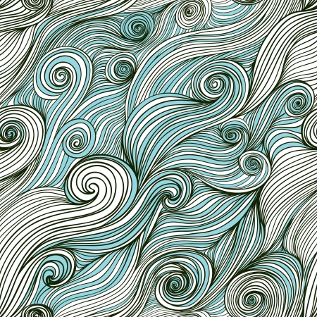 Vector seamless wave hand-drawn pattern, waves background (seamlessly tiling).Can be used for wallpaper, pattern fills, web page background,surface textures. Vector hand-drawn waves texture Ilustração