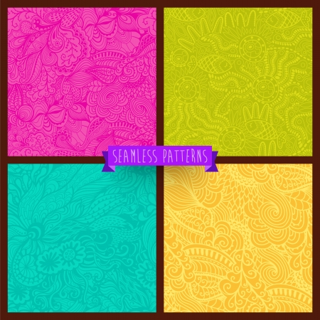 Vector set of four seamless hand-drawn pattern, waves background. Vector backdrop. Bright pattern. Collection. Combo. Set. Hand drawn abstract backdrop. Wallpaper for pattern fills, web page. Vector