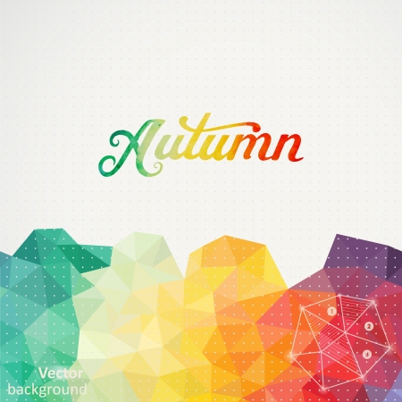 Triangle background, vector illustration with 'Autumn' vector watercolor lettering. Abstract hand drawn watercolor banner, vector illustration. Watercolor composition for scrapbook. Autumnal template Vector