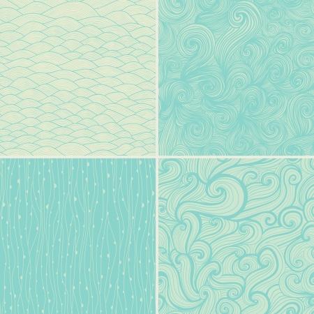 Set di quattro seamless astratta a mano, le onde di sfondo. Archivio Fotografico - 25147156