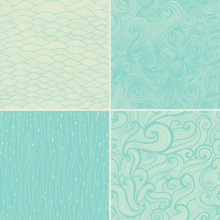 Set of four seamless abstract hand-drawn pattern, waves background.  Ilustração