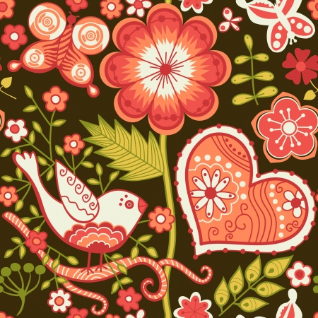 Seamless texture with flowers and birds. Endless floral pattern Vector
