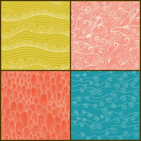 Set of four seamless abstract hand-drawn pattern, waves background.  Vector