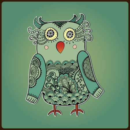 Cute Decorative Owl, vector illustration. Lacy bird. Vector