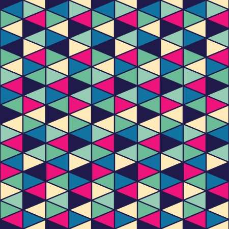 Seamless geometric pattern with geometric shapes, rhombus, colorful zigzags, looks like stairs or multilayer object.  Vector