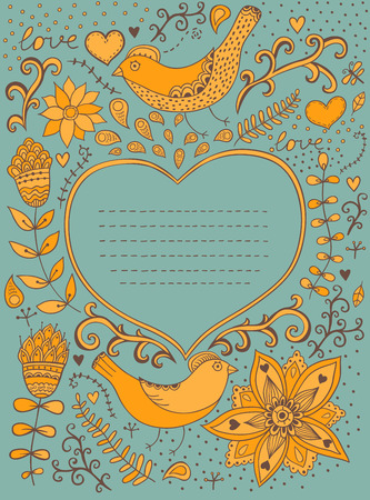 notebook cover: Vintage retro background with floral ornament and heart in the middle You can design cards, notebook cover and so on  Floral ornament heart shape with place for your text  Valentine s day background