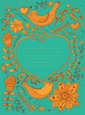 blumen verzierung: Retro Hintergrund mit floralen Ornament und Herz in der Mitte