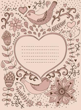 blumen verzierung: Retro Hintergrund mit floralen Ornament und Herz in der Mitte Sie k�nnen Karten, Notebook-Deckel und so auf Blumenverzierung Herz-Form mit Platz f�r Ihren Text Valentine s Day Hintergrund entwerfen