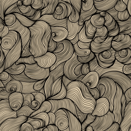 seamless abstract hand-drawn pattern, waves background. Ilustração