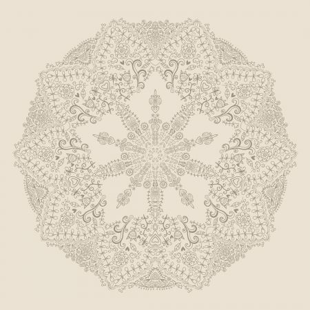 mongoloid: ornamental round lace pattern, circle background   Illustration
