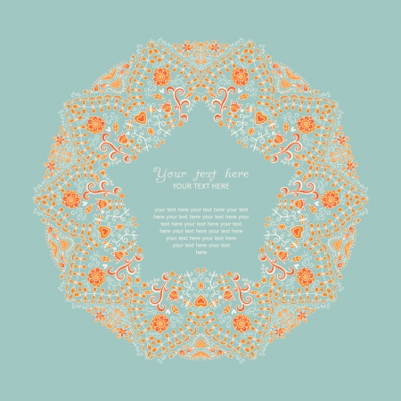 Ornamental round lace frame.   Vector