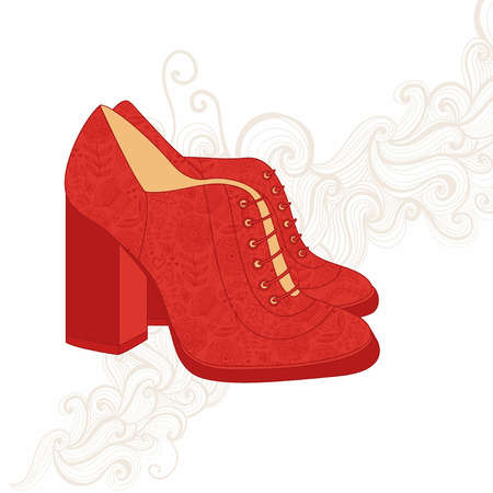 Vintage boots. Boots background. Womans boot. Abstract background with shoes. Vector