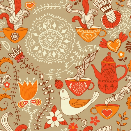 Retro coffee seamless pattern, tea background, texture with cups,drink and flowers. Vector