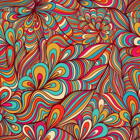 colorful seamless abstract hand-drawn pattern, waves background Vector