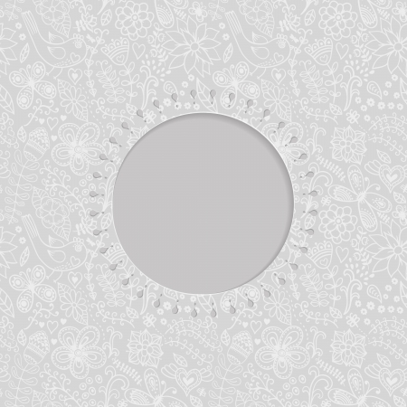 symmetrical design: ornamental lace frame, circle background with many details, looks like crocheting handmade lace, seamless texture