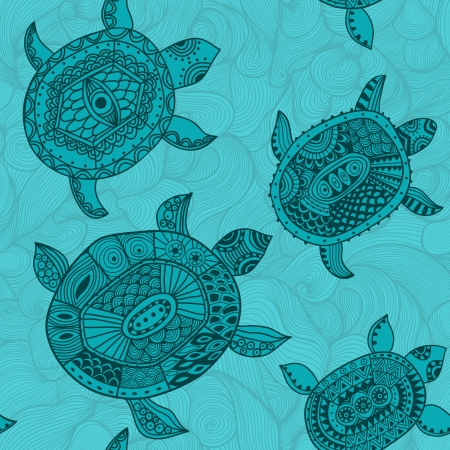 Seamless pattern with turtles.  Vector