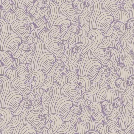 sheepskin: Seamless wave hand-drawn pattern, waves background (seamlessly tiling) Illustration