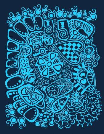 stylized design: Disegno stilizzato Psychedelic Inverno sfondo astratto Vettoriali