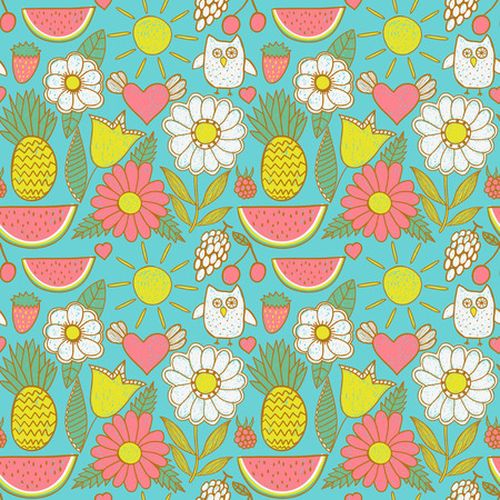 Cute seamless pattern with children s doodle, hand drawn summer background  Fruits and flowers endless texture  Vector