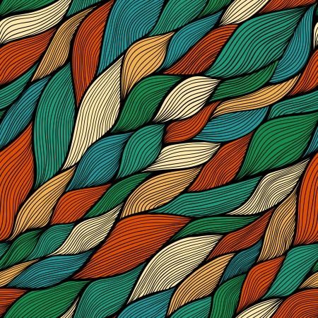 sheepskin: seamless abstract hand-drawn pattern, waves background