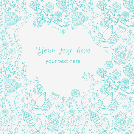 Abstract vintage illustration for design.Beautiful frame, doodle wallpaper or textile background with place for your text. Background with flowers. Fashion background with floral ornament. Vector