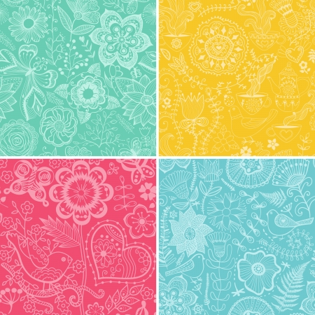 Set of four floral patterns (seamlessly tiling). Seamless pattern can be used for wallpaper, pattern fills, web page background,surface textures. Gorgeous seamless floral background Illustration