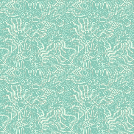 Fish pattern in abstract style. Copy square to the side and youll get seamlessly tiling pattern which gives the resulting image ability to be repeated or tiled without visible seams.