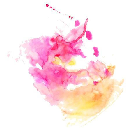 手描きの抽象的な水彩画の背景、ベクトル図、ステイン水彩色湿った紙にウェットします。スクラップ ブック要素の水彩画の組成